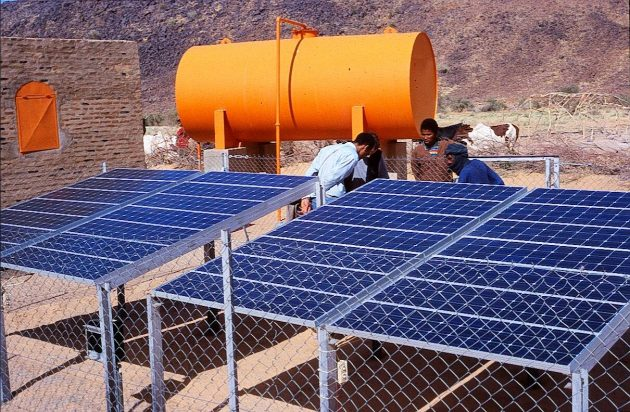 As part of the reconstruction, solar-powered water pumping set up near Timbuktu
