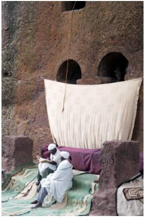 Bible discussion in Lalibela