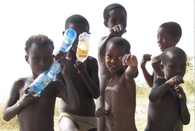 Boys playing at Lake Langano