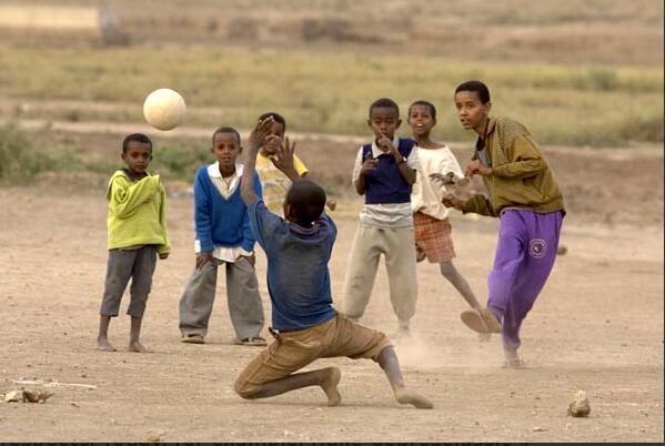 Children playing soccer in Adama