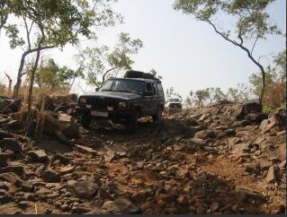 In the car through difficult terrain