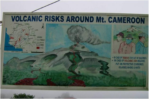 Information board on volcanic risks