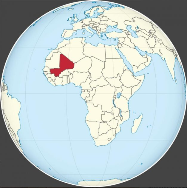 Location of Mali on the African continent