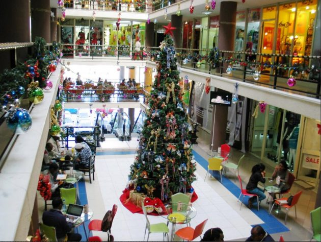 One of the big new shopping malls in Addis Ababa with western-style Christmas decorations