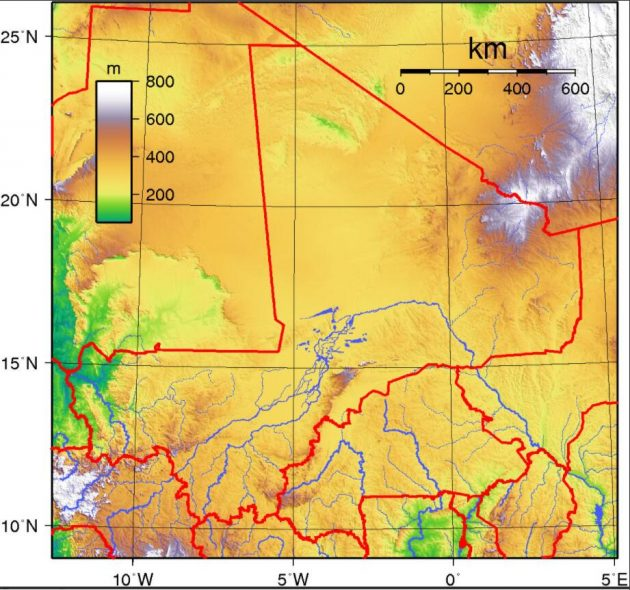 Topography of Mali
