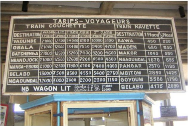 Transcamerounais price list