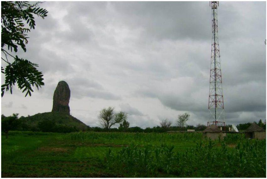 Transmission mast in the Mandara Mountains