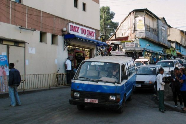 Typical minibus taxi in downtown Addis Ababa